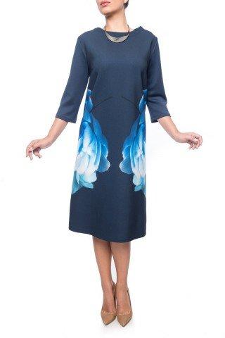 Rochie bleumarin office Dona Kyros cu imprimeu floral albastru
