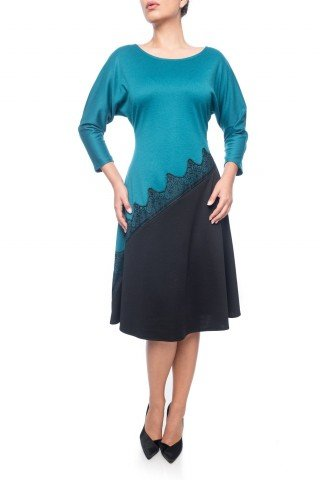 Rochie turcoaz-negru Dona Kyros cu insertie de dantela