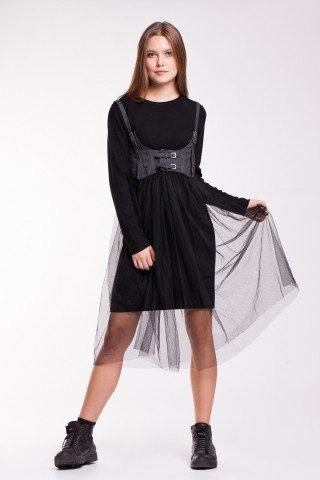 Rochie neagra tricotata si corset din denim cu tulle