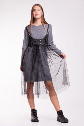 Rochie gri tricotata si corset din denim cu tulle