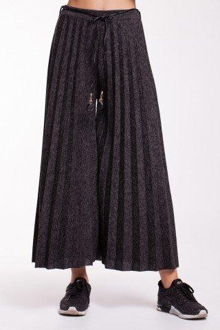 Pantaloni gri petrol plisati cu snur