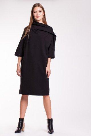 Rochie neagra eleganta cu guler drapat