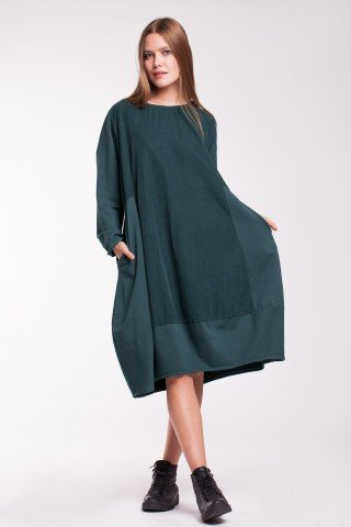 Rochie verde inchis Channon cu raiat si buzunare