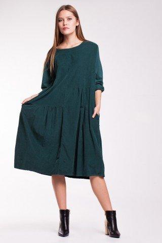 Rochie verde Aniela din raiat cu buzunare