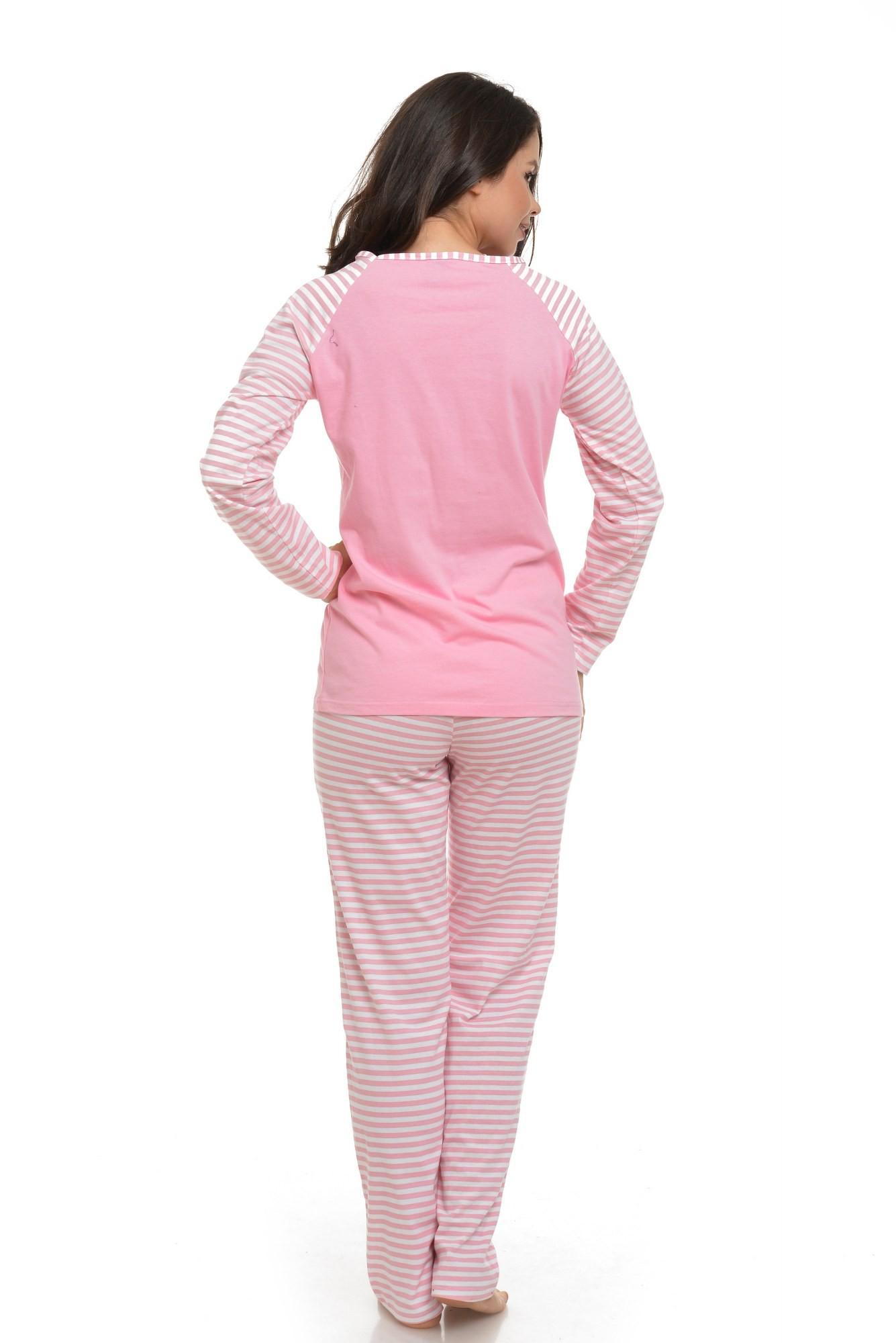 Pijama roz garden of joy cu dungi albe