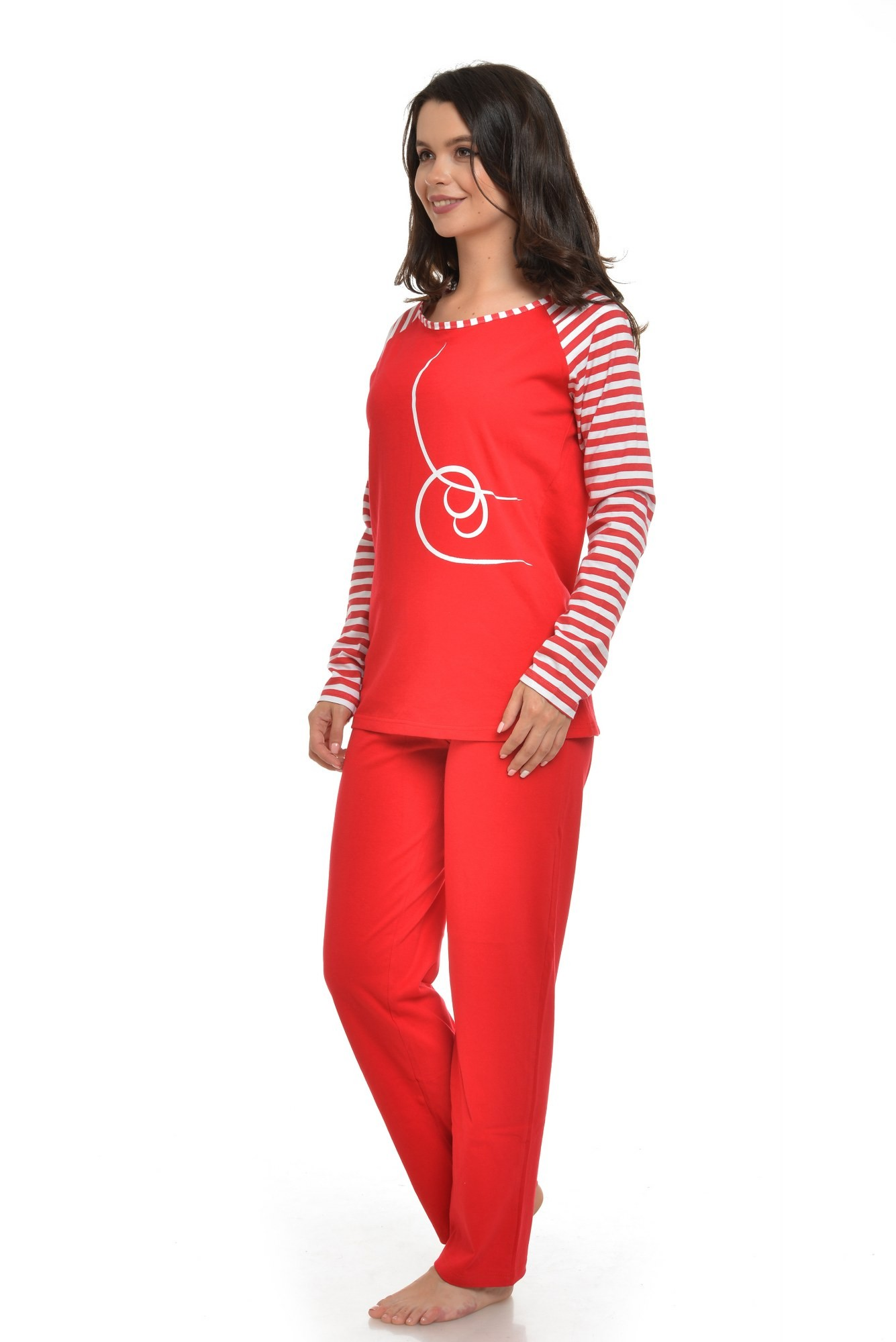 Pijama rosie cu imprimeu alb si dungi
