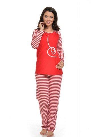 Pijama in dungi cu imprimeu alb
