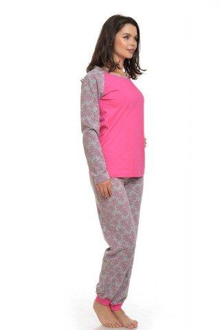 Pijama roz-gri cu imprimeu floral