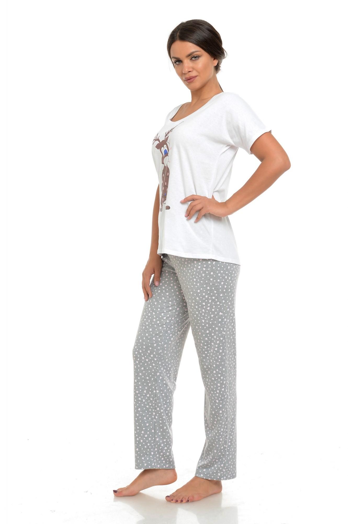 Pijama alb-gri cu ren imprimat
