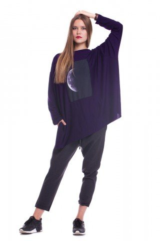 Bluza asimetrica Purple Moon cu slit lateral