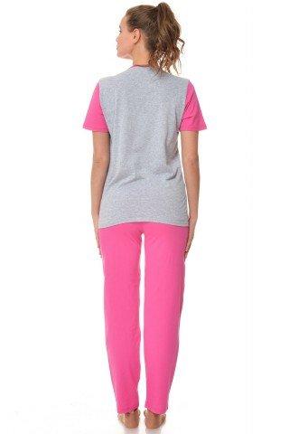 Pijama gri-roz cu imprimeu