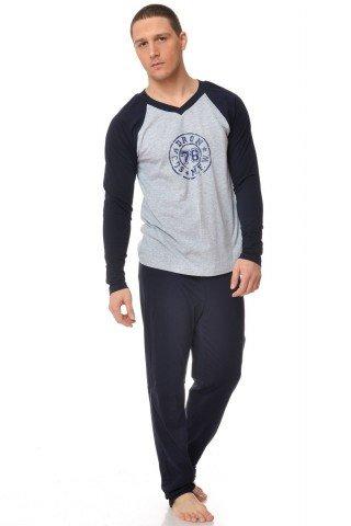 Pijama negru-gri cu imprimeu