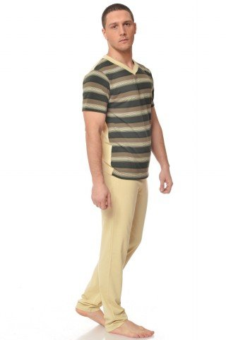 Pijama crem cu dungi