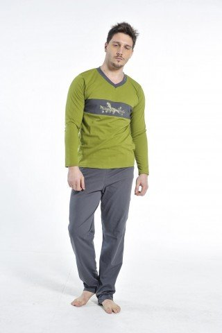 Pijama gri-verde din bumbac cu imprimeu