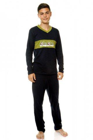 Pijama neagra cu imprimeu verde