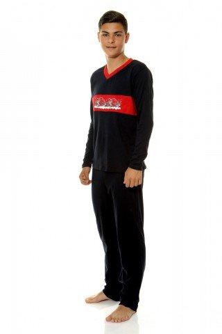 Pijama neagra cu imprimeu rosu