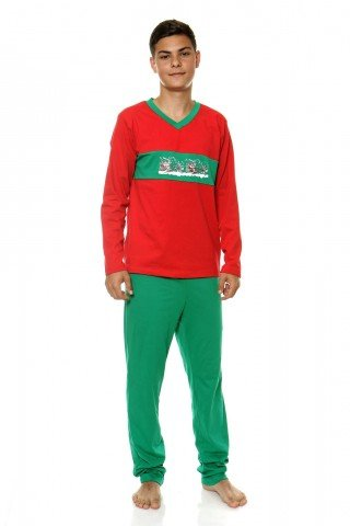 Pijama rosu-verde cu imprimeu Mos Craciun
