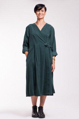 Rochie verde inchis petrecuta din raiat cu buzunare