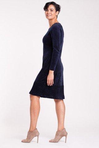 Rochie eleganta de catifea bleumarin cu striatii