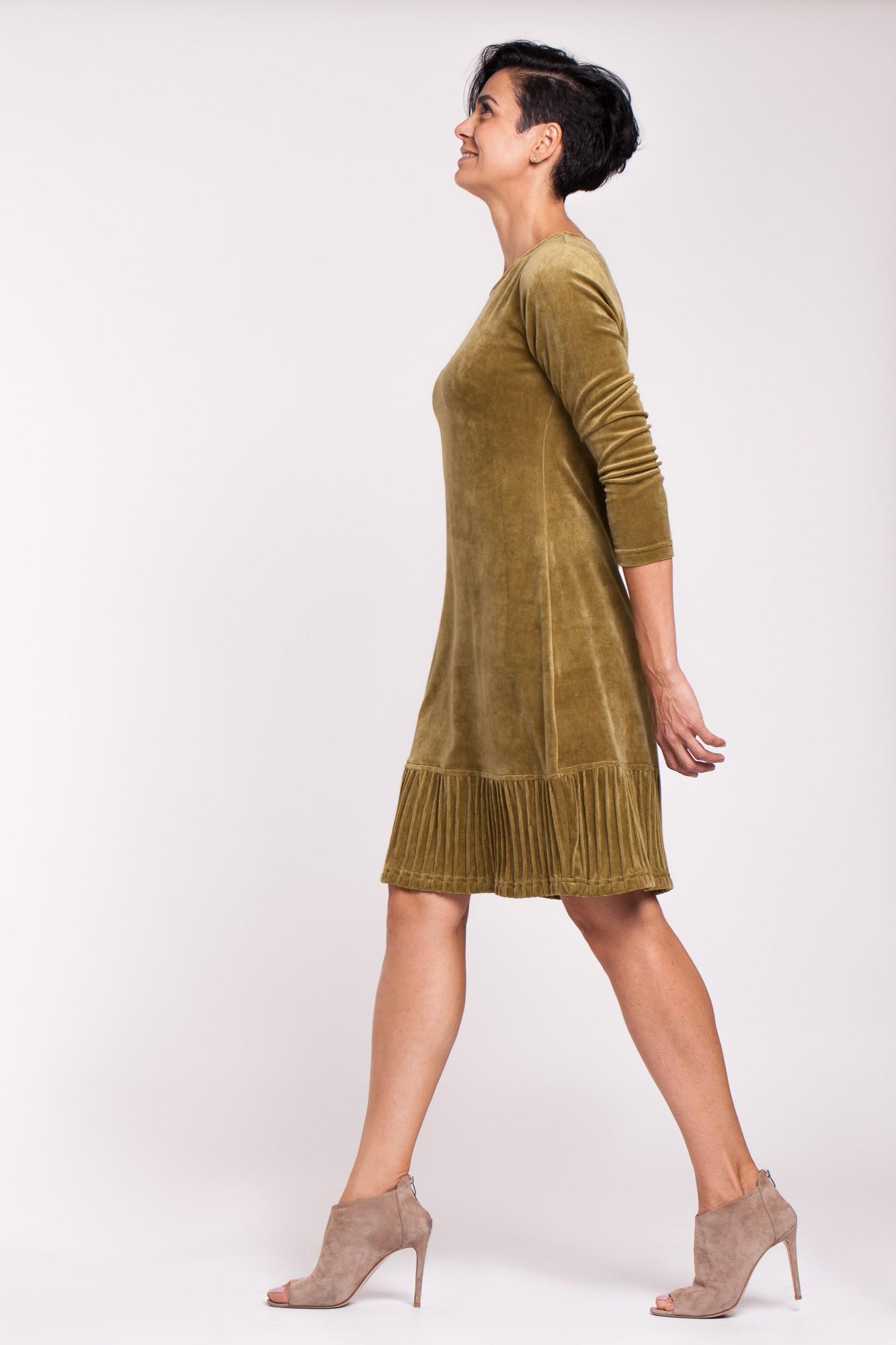 Rochie eleganta de catifea lemon cu striatii