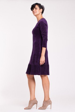 Rochie eleganta de catifea mov cu striatii
