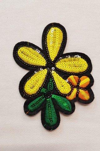 Aplicatie florala galbena cu paiete