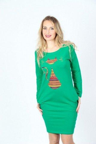 Rochie verde din bumbac cu pisica etnica