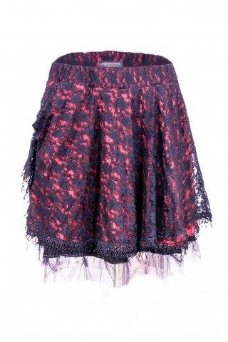 Fusta unicat stil gothic lolita scurta rosie cu dantela