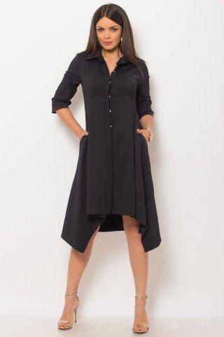 Rochie asimetrica neagra tip camasa