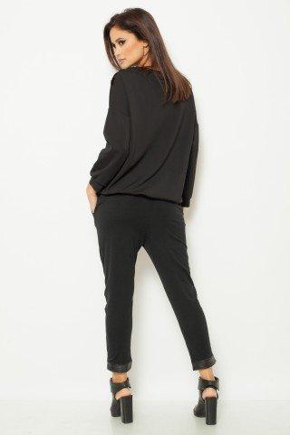 Bluza casual neagra cu paiete in contrast