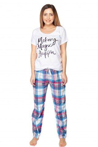 Pijamale din bumbac cu pantaloni lungi in carouri
