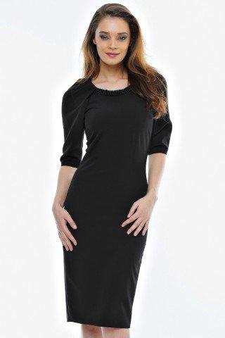 Rochie neagra eleganta Amina cu aplicatie margele