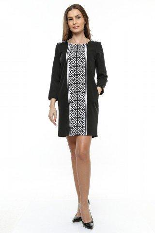 Rochie neagra Berda cu insertie imprimata  traditional
