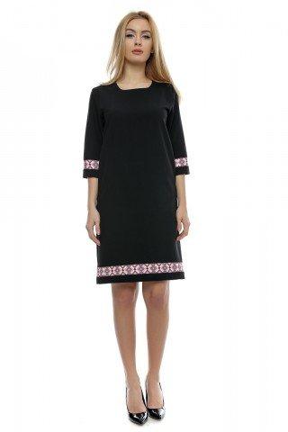 Rochie neagra Dora cu insertii traditionale printate