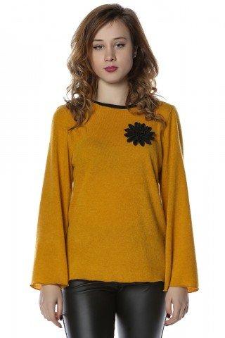 Bluza galbena cu aplicatie florala brodata