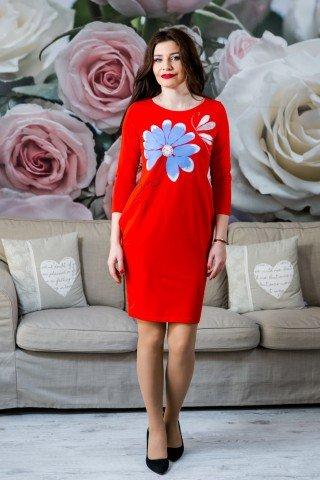 Rochie rosie margareta albastra pictata manual