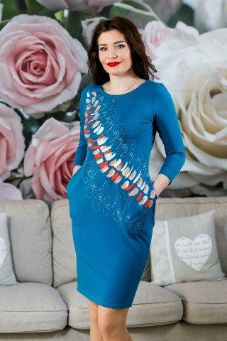 Rochie albastra din bumbac pictata manual