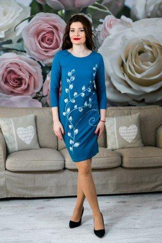 Rochie albastra flori de cires pictata manual