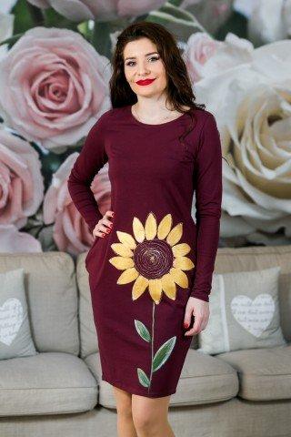 Rochie visinie floarea soarelui pictata manual