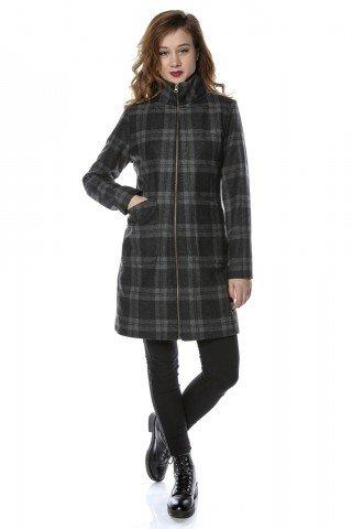 Palton in carouri cu guler tip tunica