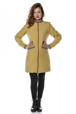 Palton galben din stofa, guler tip tunica