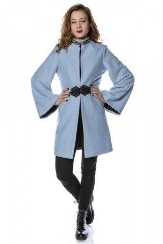 Palton bleu cu guler tunica cu broderie si maneci clopot