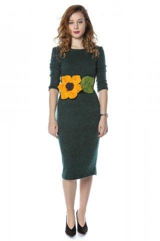 Rochie verde Ivone cu brau floarea soarelui