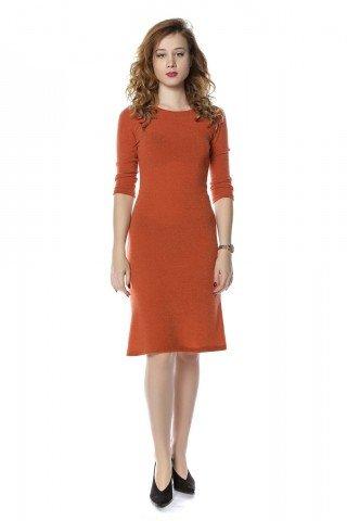 Rochie portocalie Jana din jerse captusita