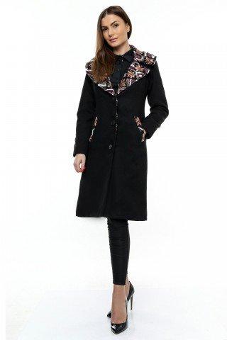 Palton negru din stofa cu guler tesut din stofa