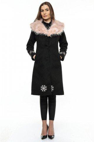 Palton negru din stofa cu guler aplicat si insertii brodate