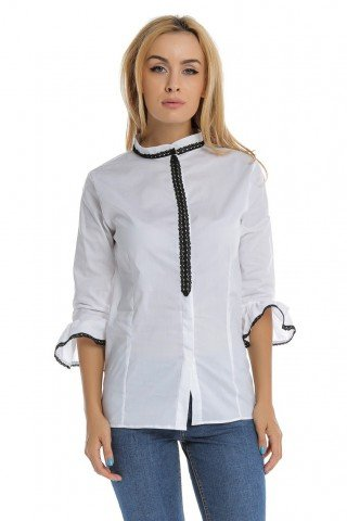 Camasa alba din bumbac guler tip tunica cu dantela aplicata
