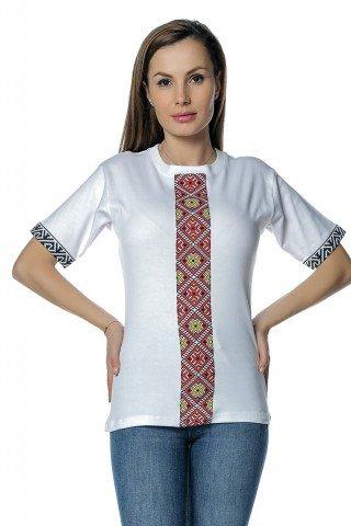 Tricou alb cu insertii imprimate traditionale