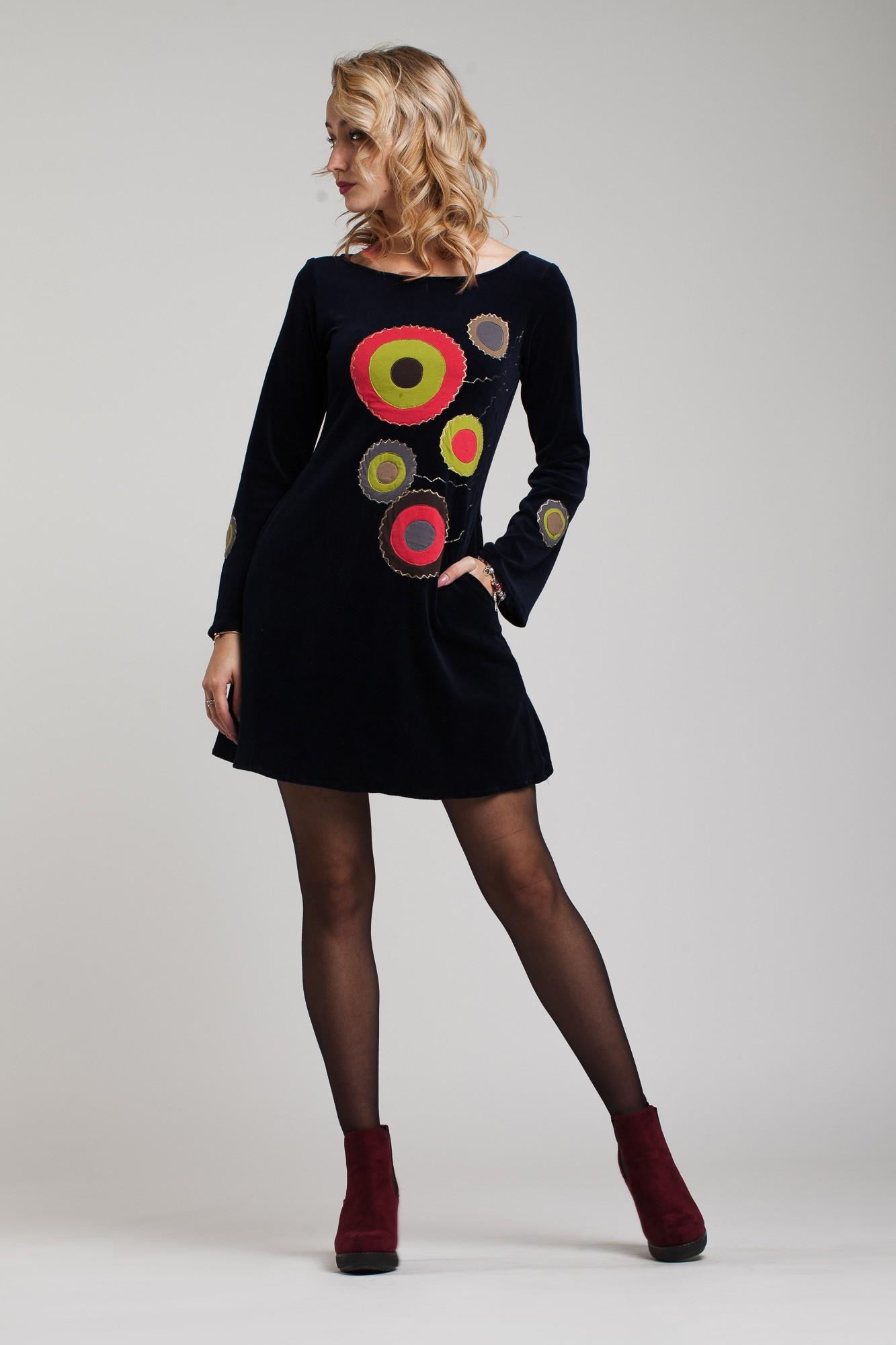 Rochie din catifea bleumarin Kroga cu cercuri aplicate