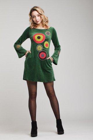 Rochie din catifea verde Kroga cu cercuri aplicate